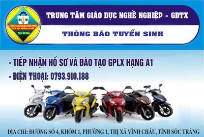 Thông báo tuyển sinh đào tạo lái xe mô tô hạng A1