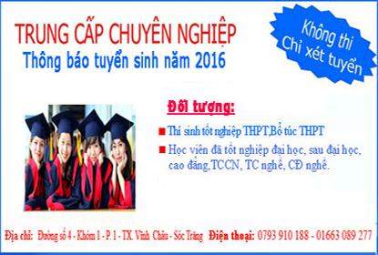 Tuyển sinh lớp trung cấp chuyên nghiệp Nghành sư phạm mầm non hệ VHVL 2016