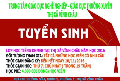 Thông báo chiêu sinh lớp học tiếng Khmer tại thị xã Vĩnh châu năm 2016