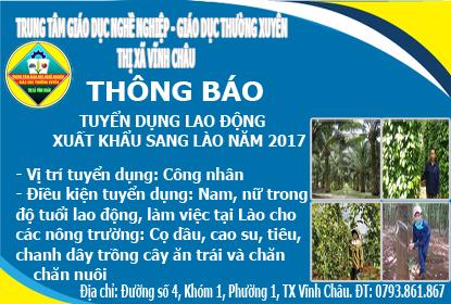 Thông báo tuyển dụng xuất khẩu lao động sang Lào